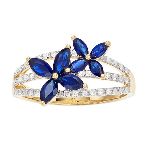 14k Gold Over Silver Lab-Created Sapphire Flower Ring