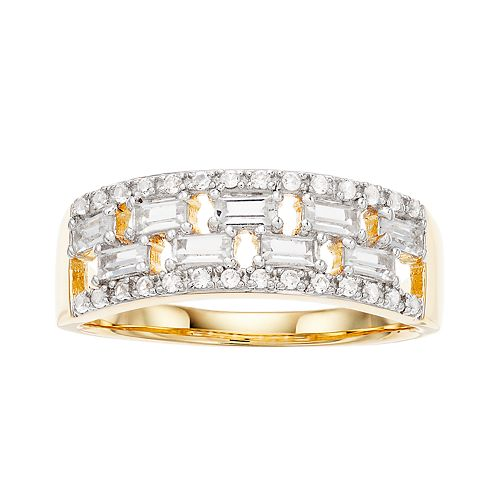 14k Gold Over Silver Lab-Created White Sapphire Baguette Ring