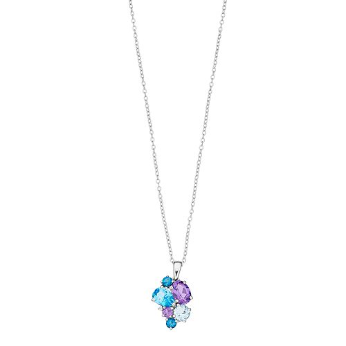 Sterling Silver Blue Topaz, Amethyst & Lab-Created White Sapphire Cluster Pendant