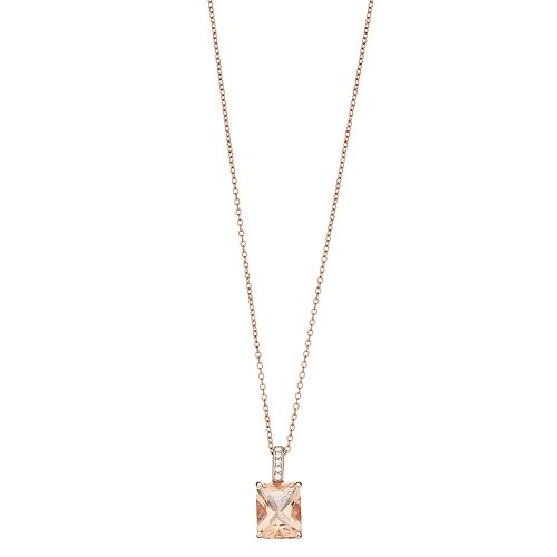 14k Gold Over Silver Simulated Morganite Pendant Necklace