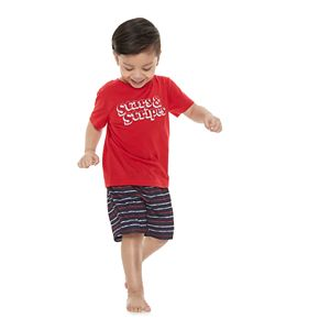 "Toddler Jammies For Your Families ""Stars & Stripes"" Top & Striped Shorts Pajama Set"