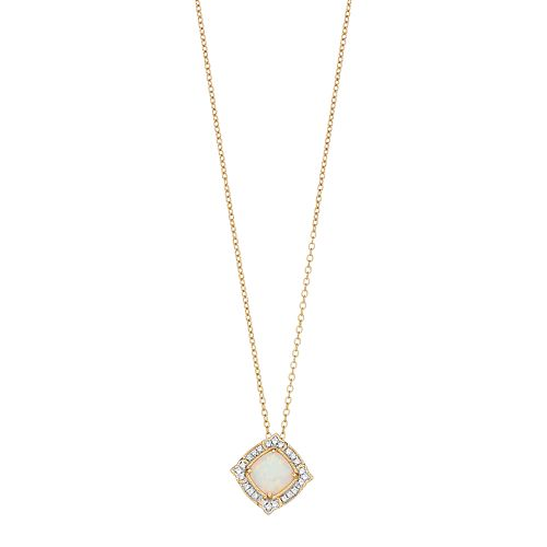 14k Gold Over Silver Lab-Created White Opal Pendant Necklace