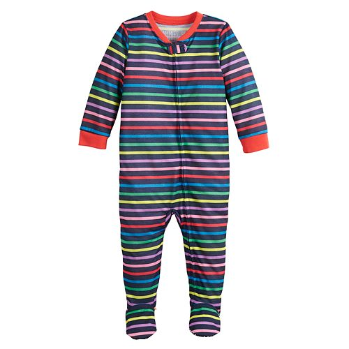"Baby Boy Jammies For Your Families ""Love You Always"" Striped Footed Pajamas"