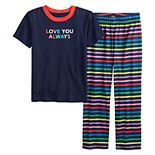 "Toddler Jammies For Your Families ""Love You Always"" Rainbow Pride Top & Bottoms Pajama Set"