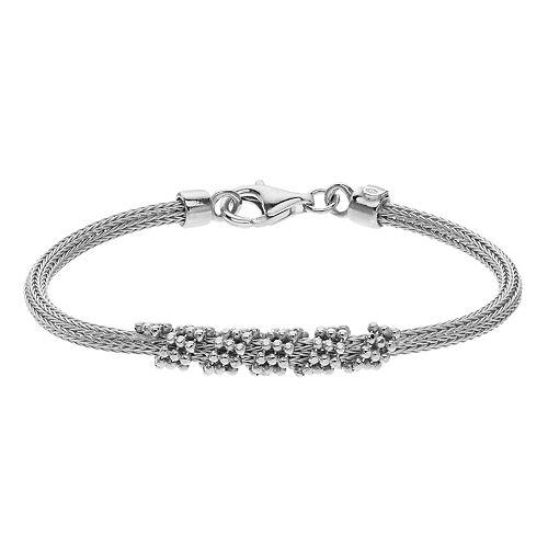 Sterling Silver Beaded Mesh Bracelet