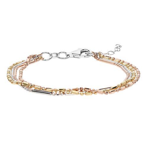 Tri-Tone Sterling Silver Beaded Multi Strand Bracelet
