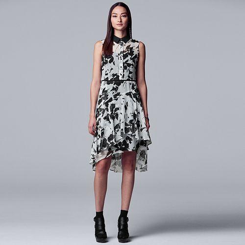 Petite Simply Vera Vera Wang Print Ruffled Shirt Dress