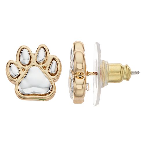 Paw Gold/Silver Tone Stud Earrings