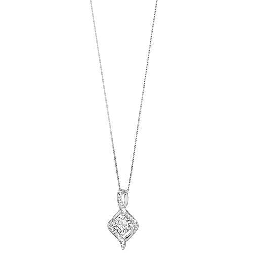 Pure Radiance Lab-Created White Sapphire & Diamond Accent Pendant Necklace