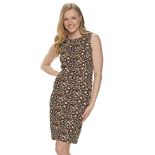 Women's Apt. 9® Sleeveless Printed Stretch Crepe Sheath Dress
