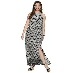 Juniors' Plus Size Three Pink Hearts High Neck Maxi Dress