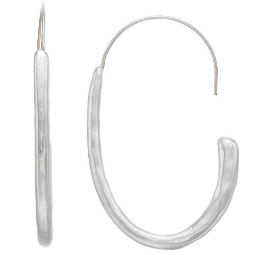 Bella Uno Hammered J-Hoop Earrings