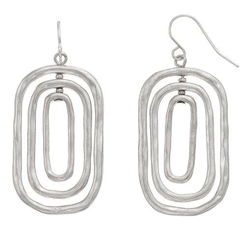 Bella Uno Rounded Rectangle Hoop Drop Earrings