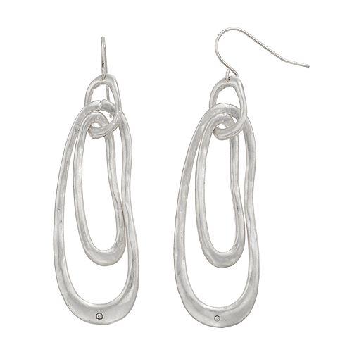 Bella Uno Elongated Abstract Oval Hoop Drop Earrings