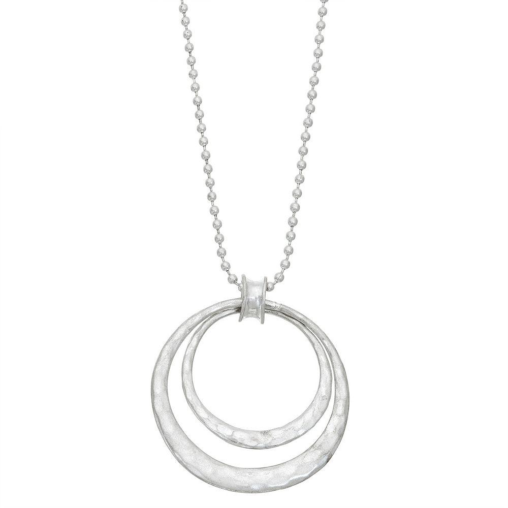 Bella Uno Silver Tone Double Circle Pendant Necklace