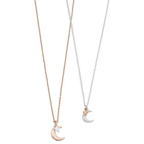 LC Lauren Conrad Two Tone Moon & Star Pendant Necklace Set