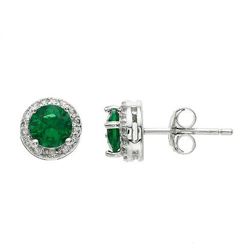 RADIANT GEM Sterling Silver Lab-Created Gemstone Halo Stud Earrings