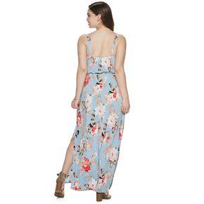 NEW! Juniors' Plus Size Three Pink Hearts Ruffle Front Maxi Dress