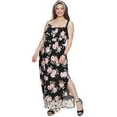 NEW! Juniors' Plus Size Three Pink Hearts Ruffle Front Maxi Dress