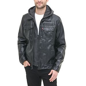 Men's Levi's Hooded Faux-Leather Sherpa-Lined Trucker Jacket
