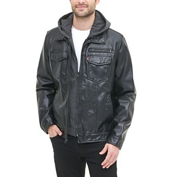 Levi's Men's Hooded Faux-Leather Trucker Jacket + $10.00 Kohls Cash
