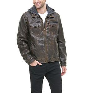 Men's Levi's Hooded Faux-Leather Sherpa-Lined Trucker Jacket