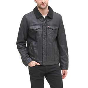 Men's Levi's Faux-Leather Sherpa-Lined Trucker Jacket