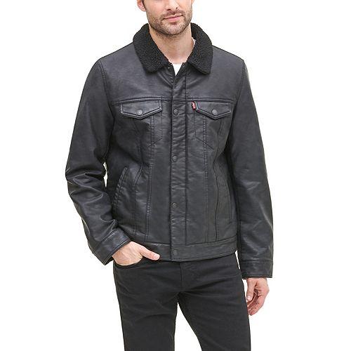 Men's Levi's® Faux-Leather Sherpa-Lined Trucker Jacket