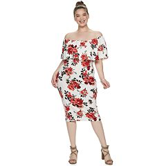 Juniors' Plus Size Almost Famous Off The Shoulder Ruffled Dress