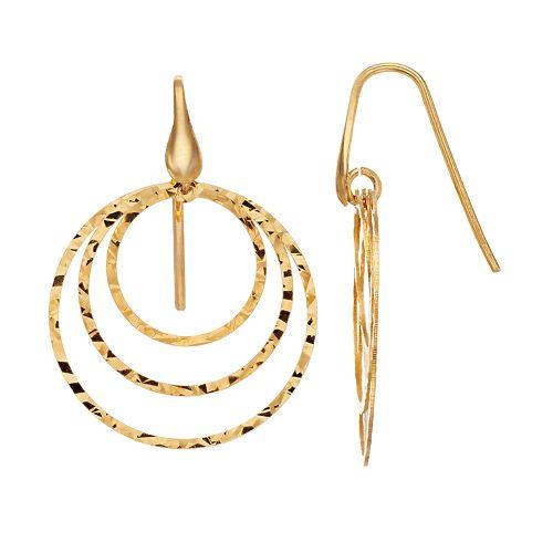 Primavera 24k Gold Over Silver Hammered Triple Hoop Drop Earrings