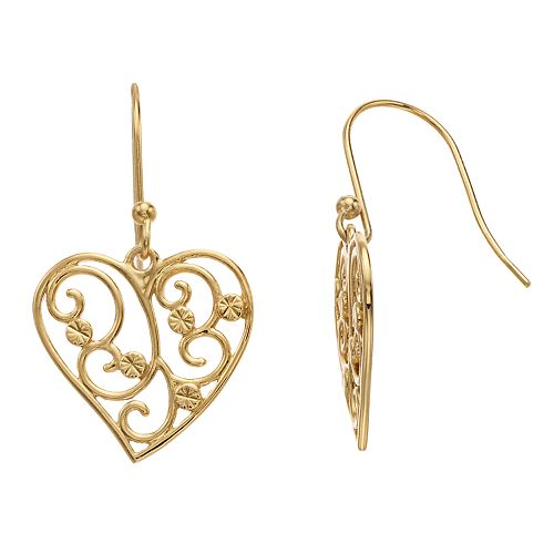 Primavera 24k Gold Over Silver Filigree Heart Drop Earrings