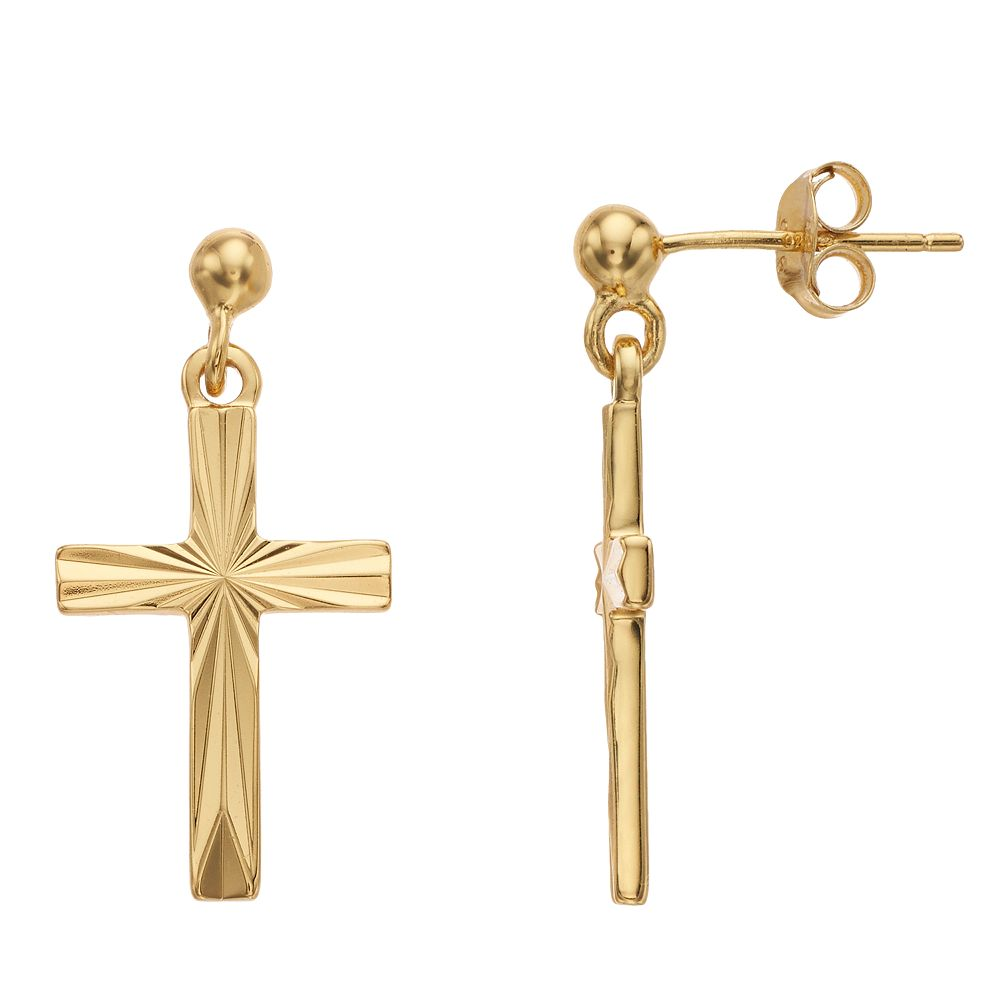 Primavera 24k Gold Over Silver Cross Drop Earrings