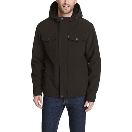 Men's Levi's Sherpa-Lined Hooded Softshell Trucker Jacket