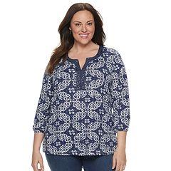 Plus Size Croft & Barrow® Embellished Splitneck Top
