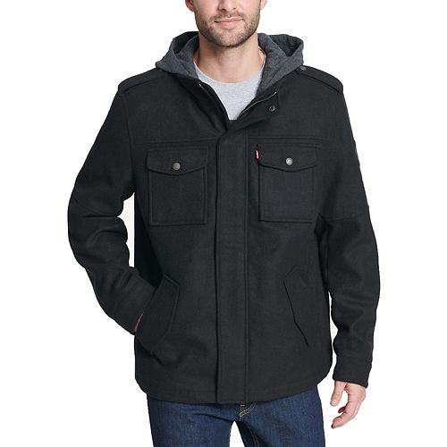 Men's Levi's® Wool-Blend Four-Pocket Hooded Military Jacket