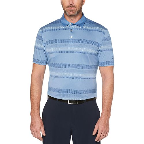 Men's Grand Slam Driflow Natural Touch Classic-Fit Striped Performance Golf Polo