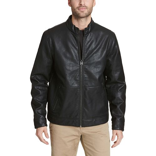 Men's Dockers Faux Leather Quilted Shoulder Racer Jacket