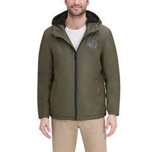 Men's Dockers Rubberized Sherpa Lined Hooded Rain Slicker