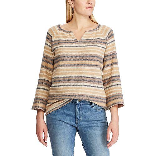 Women's Chaps Striped Splitneck Sweater