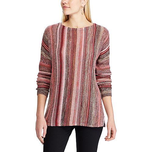 Women's Chaps Striped Linen-Blend Tunic Sweater