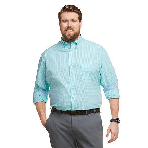 Big & Tall IZOD Core Essentials Stretch Gingham Button-Down Shirt