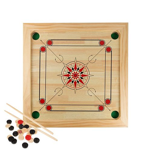 Hey! Play! Carrom Board Game- Classic Strike and Pocket Table Game