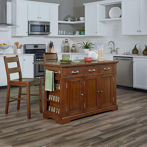 Inspired by Bassett Country Kitchen Kitchen Island & Stool 3-piece Set
