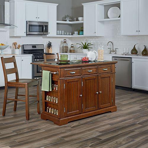 Inspired by Bassett Farmhouse Basics Kitchen Island & Stool 3-piece Set