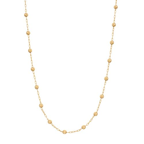 Primavera 24k Gold over Silver Beaded Chain Necklace
