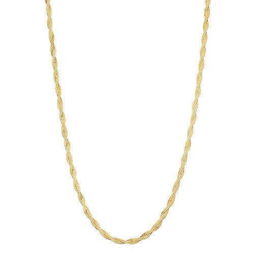 Primavera 24k Gold over Silver 18-inch Twist Double Herringbone Chain Necklace