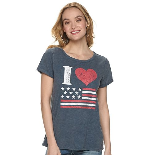 Women's Rock & Republic® I Heart Flag Tee