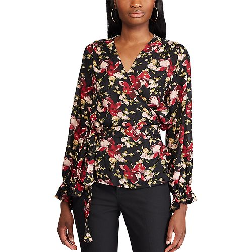 womens-chaps-floral-wrap-top by chaps