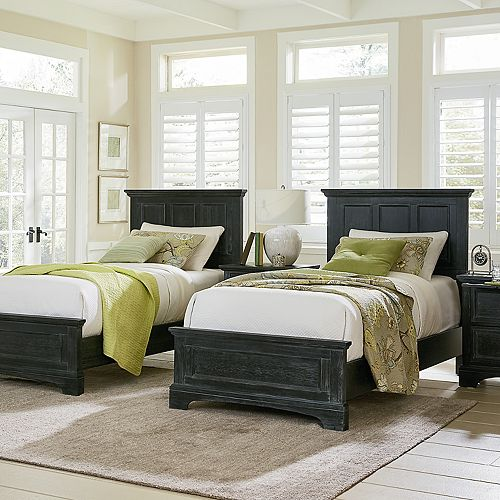 Inspired By Basset Farmhouse Basics Double Twin Bedroom Set with 2 Twin Beds and 2 Nightstands