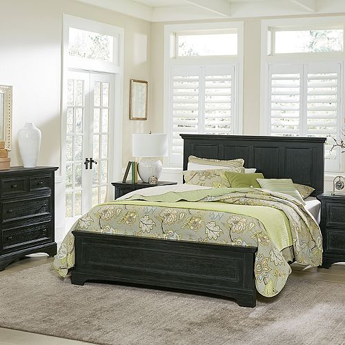 Inspired by Basset Farmhouse Basics Queen Bed with 2 Nightstands and 1 Chest